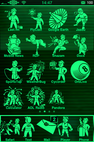 iPhone theme - Fallout 3 PipBoy 3000