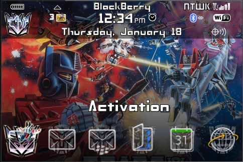 Tema de Transformers para Blackberry Bold 9000